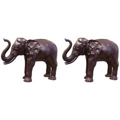 Elephants Set of Two Sculptures in Solid Bronze