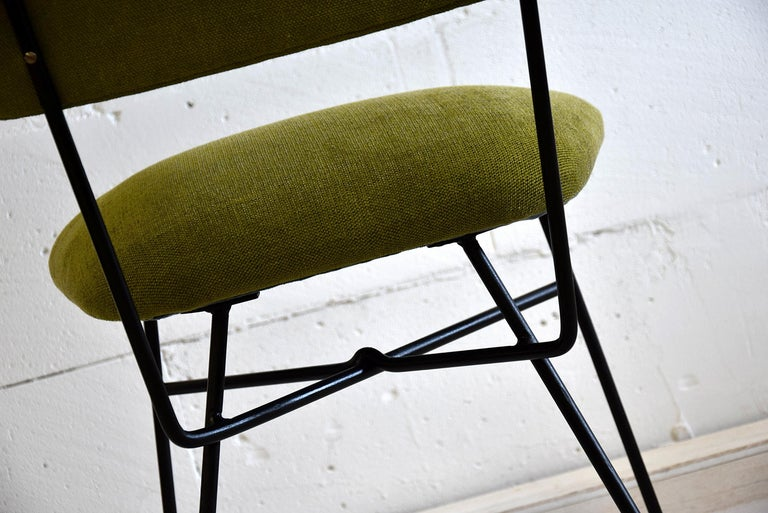 Mid century modern chair Elettra by Arflex, 1954 Elegant and stylish re-upholstered Elettra chair designed by BBPR Studio for Arflex Italy in 1954. This chair is produced circa 1955 and is in excellent condition.  Measurements: H.28.35 in. x W.18.51