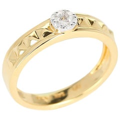 Elevated Pyramid Yellow Gold Ring with Diamonds, 14 Karat