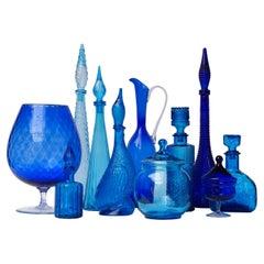 Eleven 1960s Blue Glass Italian Empoli Genie Bottles Decanters, Vases Candy Jars