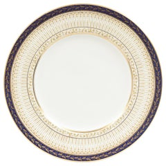 Eleven Antique English Cobalt and Gold Dinner Plates, Custom Ordered, circa 1910