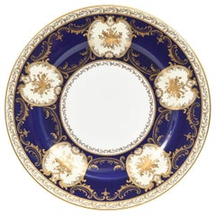 Eleven Antique English Dinner Plates, Cobalt Blue Gilded Musical Instruments