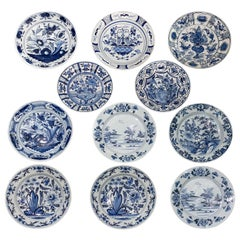 Eleven Antique Large Delft Blue and White Chargers, Late 18th Century