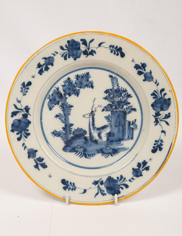 Eleven Blue and White Delft Dishes Hand Painted 18th Century Antique For Sale 4