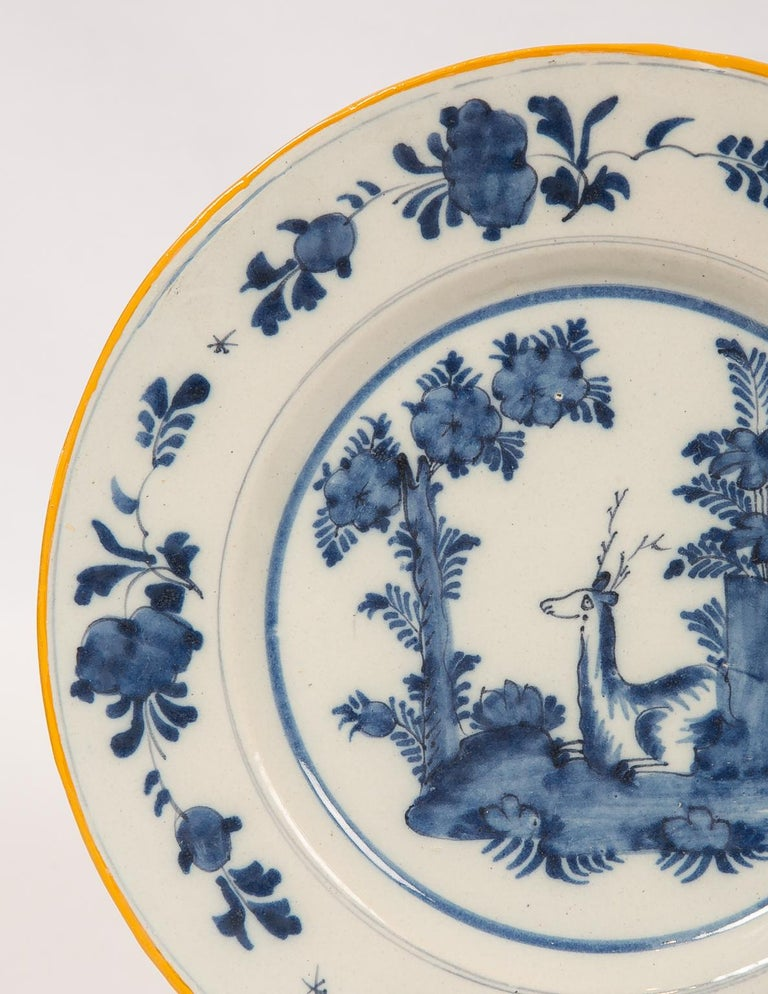 Eleven Blue and White Delft Dishes Hand Painted 18th Century Antique For Sale 5