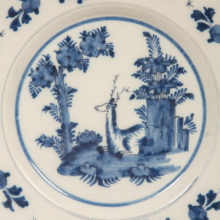 Eleven Blue and White Delft Dishes Hand Painted 18th Century Antique For Sale 6
