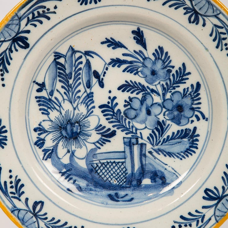 Eleven Blue and White Delft Dishes Hand Painted 18th Century Antique For Sale 8