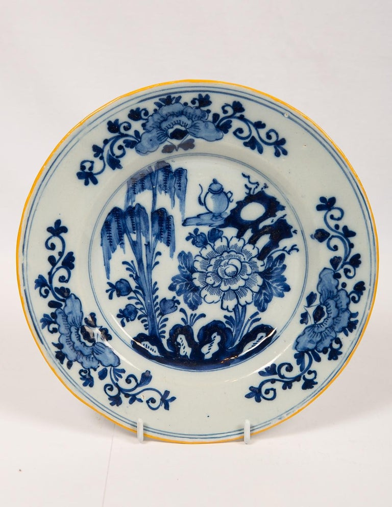 Eleven Blue and White Delft Dishes Hand Painted 18th Century Antique For Sale 9