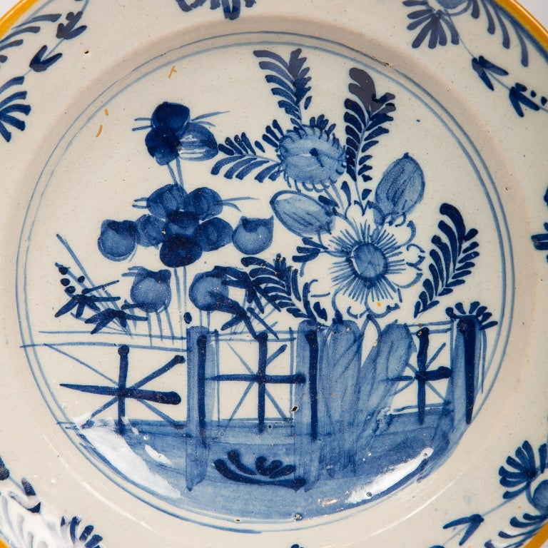 Rococo Eleven Blue and White Delft Dishes Hand Painted 18th Century Antique For Sale