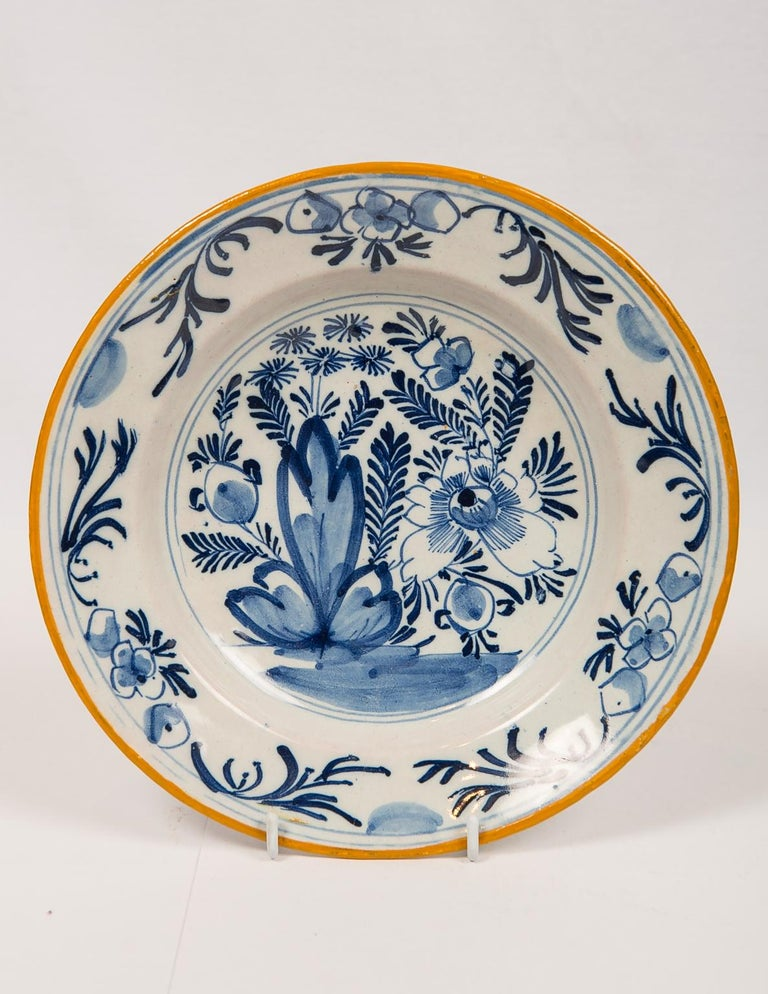 Dutch Eleven Blue and White Delft Dishes Hand Painted 18th Century Antique For Sale