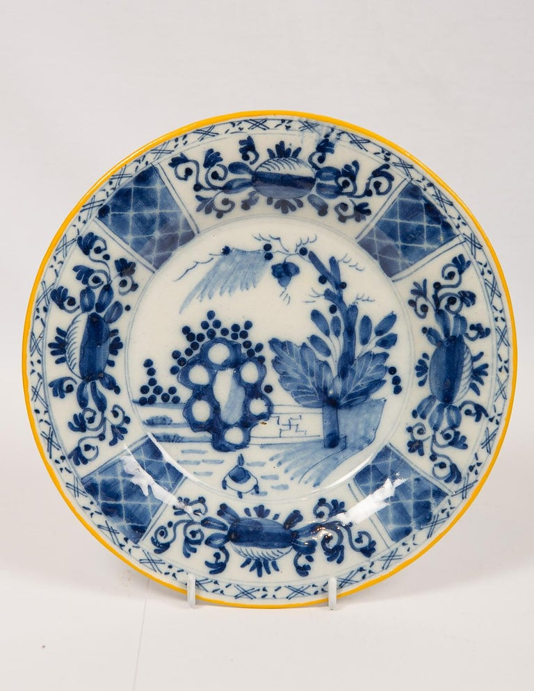 Eleven Blue and White Delft Dishes Hand Painted 18th Century Antique In Excellent Condition For Sale In New York, NY