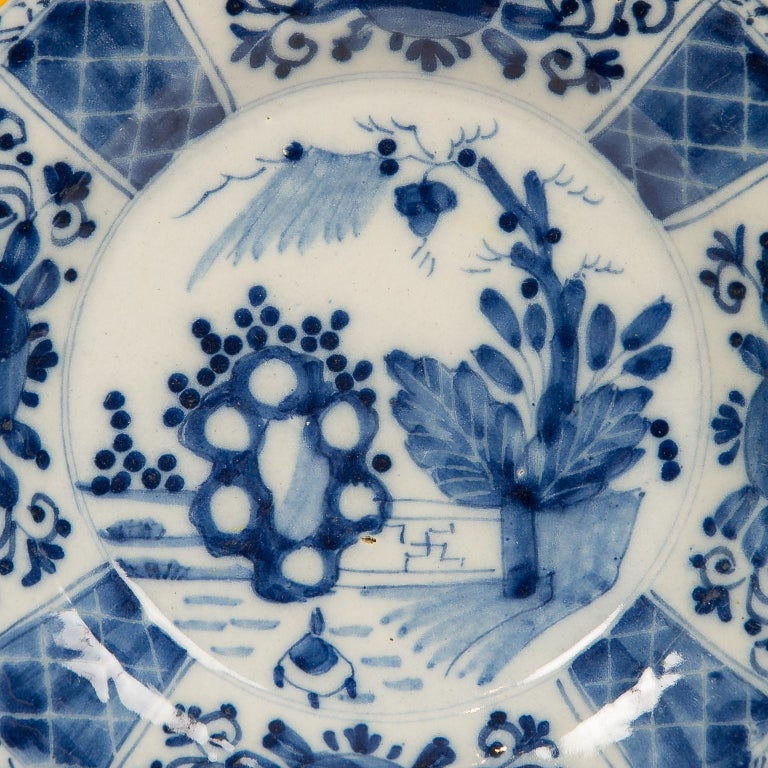 Eleven Blue and White Delft Dishes Hand Painted 18th Century Antique For Sale 1