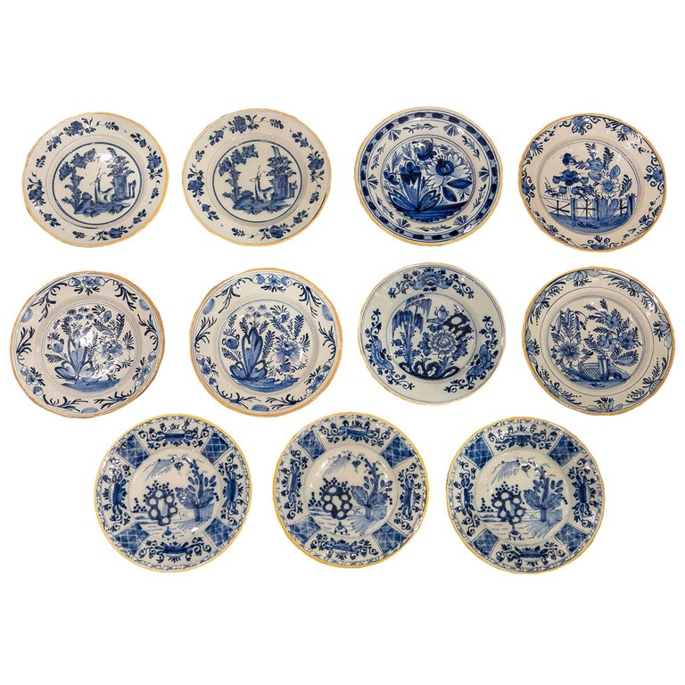 Eleven Blue and White Delft Dishes Hand Painted 18th Century Antique For Sale
