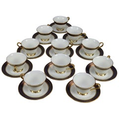 Eleven Cobalt & Gilt Oxford Bone China Porcelain Tea Cups & Saucers, Cortina