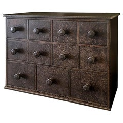 Eleven Drawer Cabinet, Shaker Inspired, Found Steel with Natural Rusted Patina