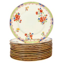 Eleven English Copeland Spode for Tiffany Porcelain Floral Dinner Plates