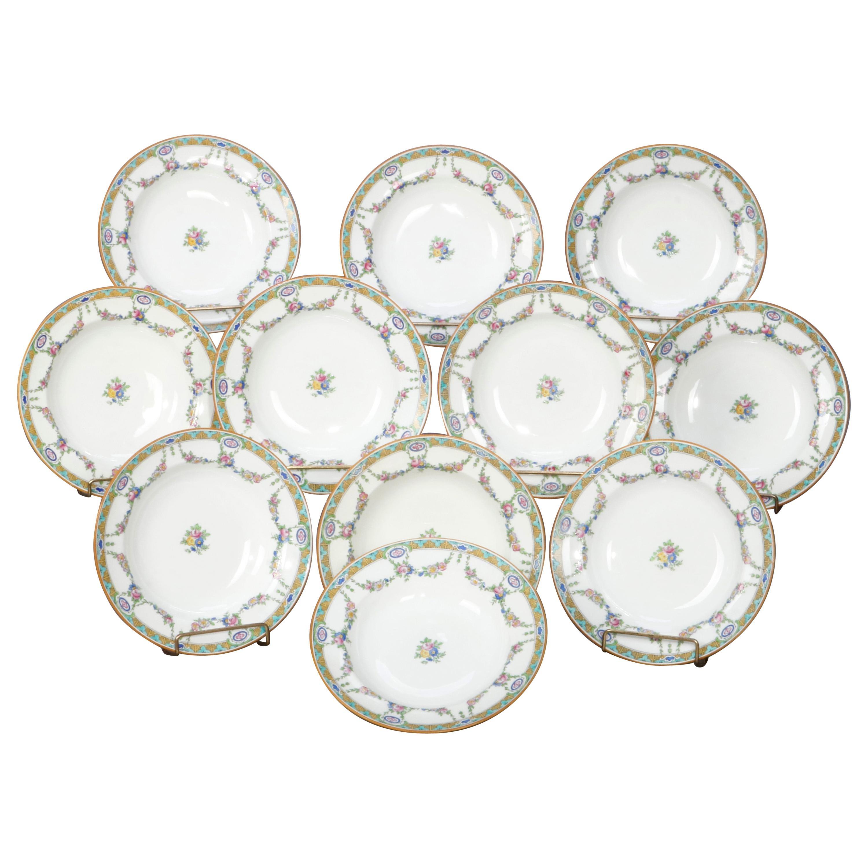 Eleven English Mintons Fine China Floral Garland Porcelain Wide Rim Bowls