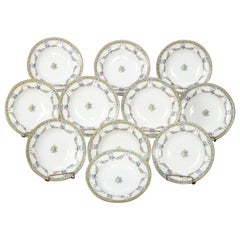 Eleven English Mintons Fine China Floral Garland Porcelain Wide Rim Bowls