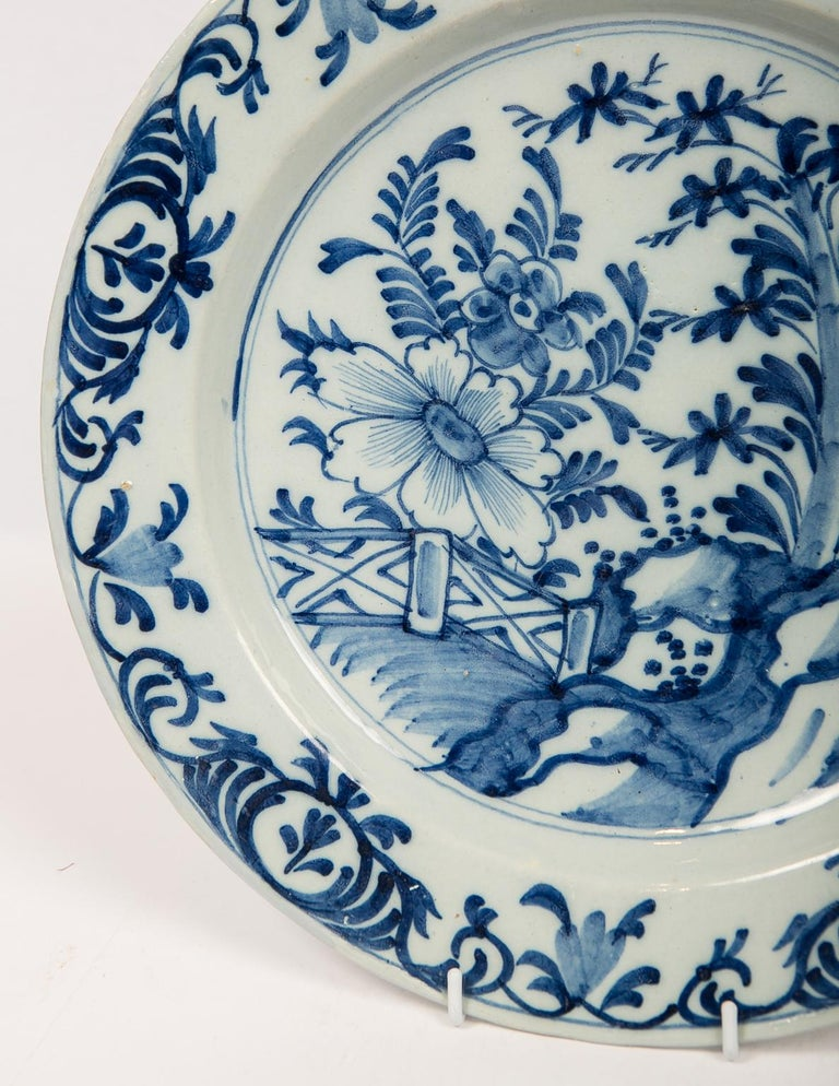 Eleven Large Blue and White Delft Chargers Antique Made Late 18th Century For Sale 4