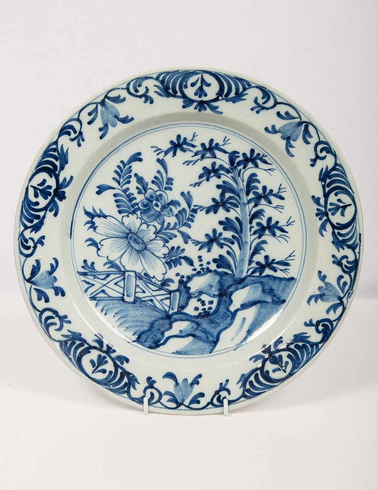 Eleven Large Blue and White Delft Chargers Antique Made Late 18th Century For Sale 5