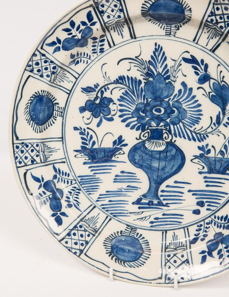 Eleven Large Blue and White Delft Chargers Antique Made Late 18th Century For Sale 6