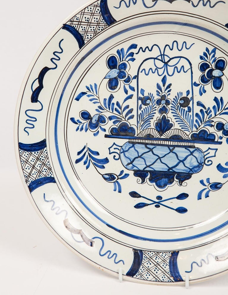 Eleven Large Blue and White Delft Chargers Antique Made Late 18th Century For Sale 8