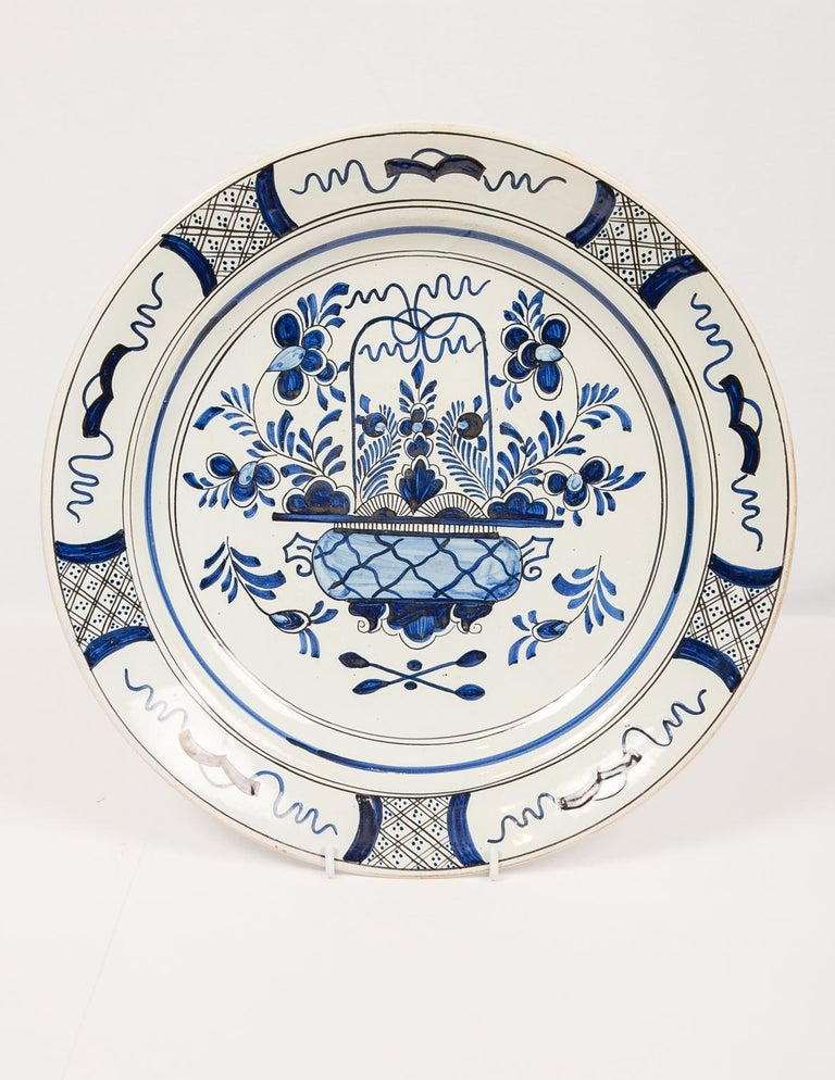 Eleven Large Blue and White Delft Chargers Antique Made Late 18th Century For Sale 9