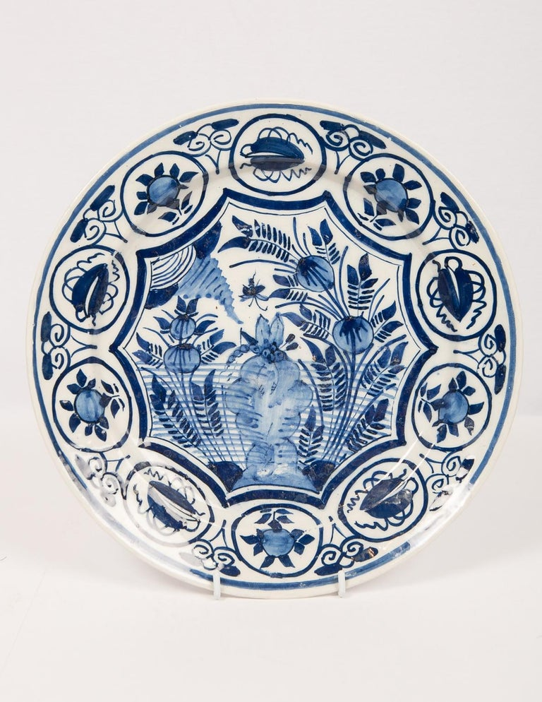 Rococo Eleven Large Blue and White Delft Chargers Antique Made Late 18th Century For Sale