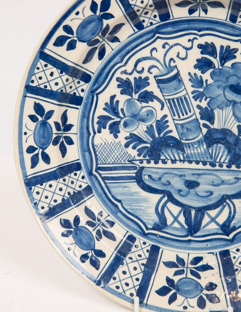 Dutch Eleven Large Blue and White Delft Chargers Antique Made Late 18th Century For Sale