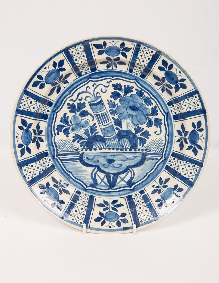 Hand-Painted Eleven Large Blue and White Delft Chargers Antique Made Late 18th Century For Sale