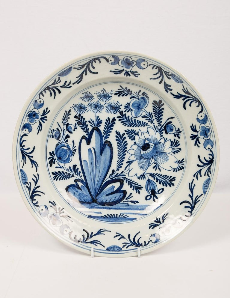Eleven Large Blue and White Delft Chargers Antique Made Late 18th Century For Sale 1