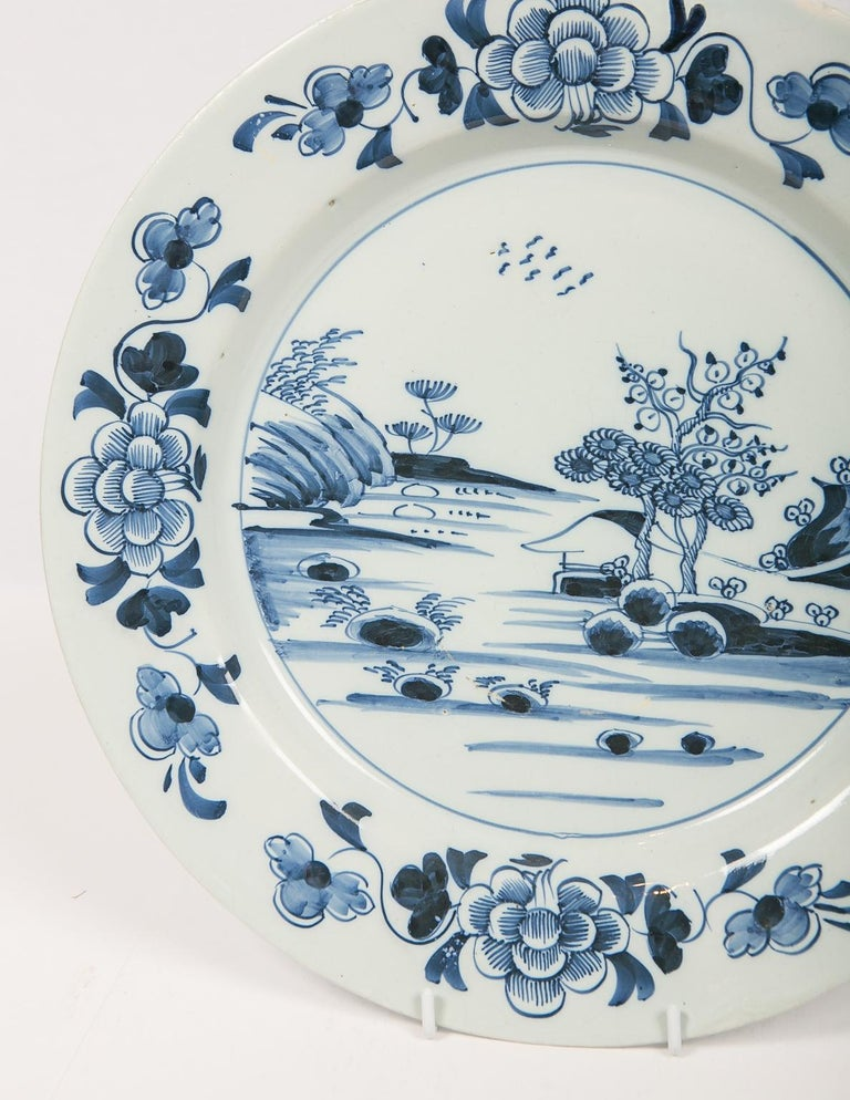 Eleven Large Blue and White Delft Chargers Antique Made Late 18th Century For Sale 2