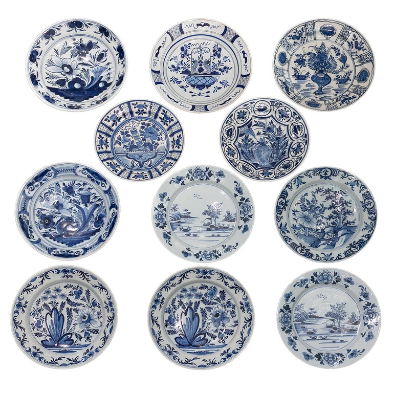 Eleven Large Blue and White Delft Chargers Antique Made Late 18th Century For Sale