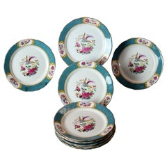 Eleven Old English Grosvenor Hand Painted Porcelain Luncheon Plates, c1930