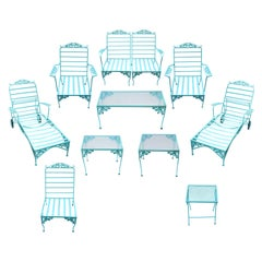 Eleven Piece Vintage Woodward Outdoor Furniture in Turquoise