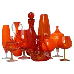 Eleven Tangerine 60s Italian Empoli Rossini and Cased Glass Decanters Vases Jars