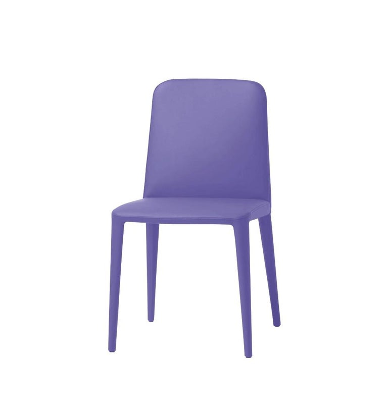 Italian Elf Blue Leather Dining Chair, by Gordon Guillaumier, in Stock in Los Angeles For Sale
