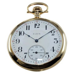 Elgin 14 Karat Solid Yellow Gold Art Deco Open Faced Pocket Watch, circa 1915