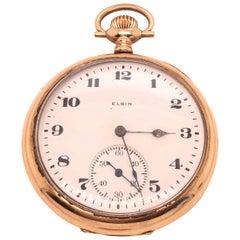 Elgin 14 Karat Yellow Gold Open Face Antique Pocket Watch
