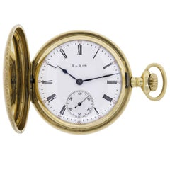 Elgin 14 Karat Yellow Gold Vintage Hand Wind Men's Pocket Watch Weight 110.53gm