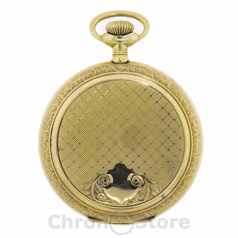 Women's or Men's Elgin 14 Karat Yellow Gold Vintage Hand Wind Men's Pocket Watch Weight 110.53gm