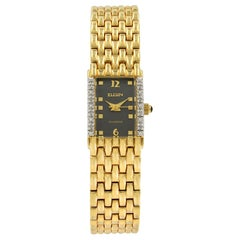 Elgin Diamond Black Dial Yellow Gold Plated Steel Quartz Ladies Watch EG059