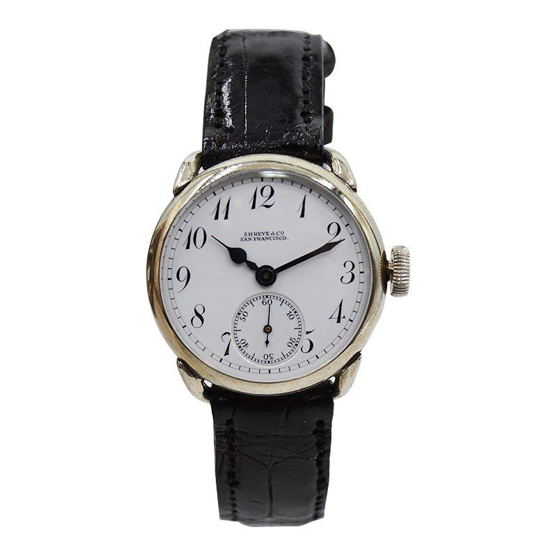 Elgin for Shreve & Co. San Francisco Enamel Dial Wristwatch, 1910
