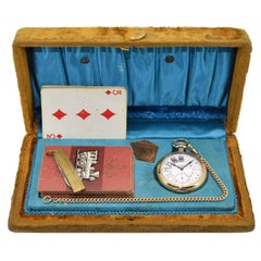 Elgin Yellow Gold Filled Pocket Watch Chain Knife Playing Cards Gamblers Set