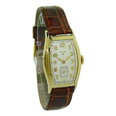 Elgin Gold Filled Art Deco Tortue Shaped Watch with Original Dial from 1935