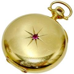 Elgin Gold & Ruby 40mm Pocket Watch