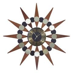 Elgin Mid-Century Modern Atomic Sunburst Starburst Retro Wood Wall Clock