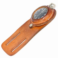 Elgin Military Stop Watch Suspended from a Leather Holster, an Equestrians Must