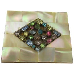Elgin Mother of Pearl and Rhinestone Compact