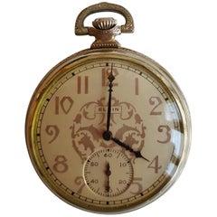 Elgin Pocket Watch, 14 Karat White Gold Filled, 1928, 17 Jewel